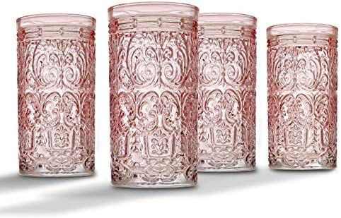 Jax Highball Beverage Glass Cup by Godinger Pink Set of 4 product image