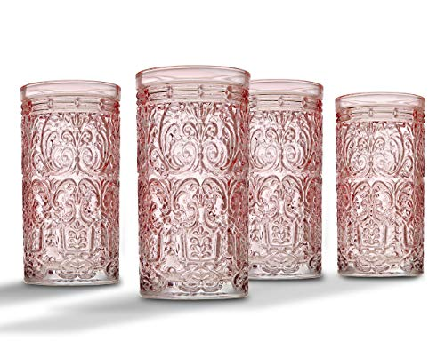 Jax Highball Beverage Glass Cup by Godinger - Pink - Set of 4