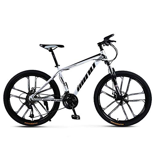 Mountain Bike 21 Speed, 26 Inch Wheels 21/24/27/30 Speed 4 Choices, Full Suspension Double Disc Brake Mountain Bike, Load 125Kg Lockable Fork Outroad Bicycles,White,27 Speed