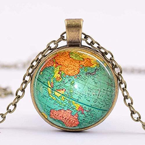 huangshuhua Collar de Idea de Viaje de Mapa Mundial, Collar con Colgante de aleación de hemisferio de cúpula de Cristal para Amigos, Regalo de graduación
