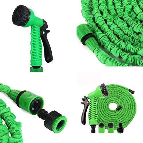 Megaprom Flexibler 5-15m Flexischlauch Gartenschlauch Wasserschlauch mit Multifunktionsbrause Sprühpistole Gartenbrause