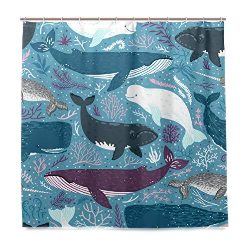 Orediy Badezimmer-Duschvorhänge, Wale Marine Säugetiere, wasserdicht, Anti-Schimmel, Polyester, 180 x 180 cm, Badevorhang mit Haken