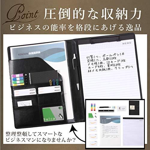 RINDENクリップボードバインダー二つ折りa4革カード名刺入れメモ用紙ペン付箋付き軽量高級感