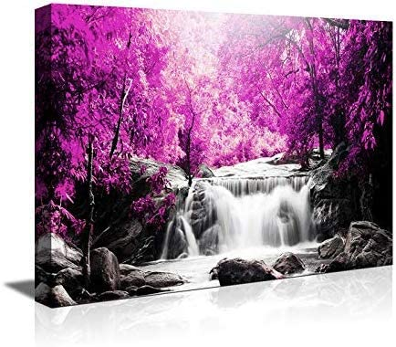 Amazon Com Canvas Wall Art For Living Room Simple Life Purple Tree Waterfall Landscape Abstract Painting Office Wall Art Decor 16 X 24 Single Pieces Canvas Prints Ready To Hang For Home Decoration
