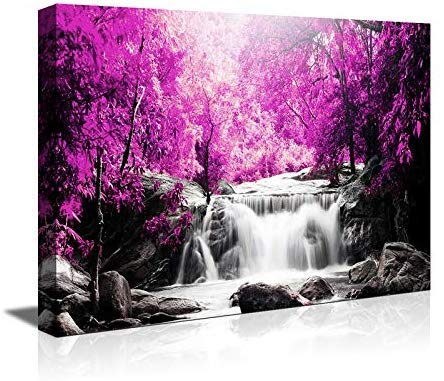 Wall Art for Living Room Simple Life Purple Tree Waterfall Landscape Abstract Painting Office Wall Art Decor 12 x 16 Single Pieces Canvas Prints Ready to Hang for Home Decoration Works of Art