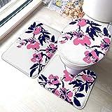Juego de alfombras de baño Pintura de acuarela Flores de color rosa azul Conjuntos de alfombras de baño antideslizantes chinas, cubierta de almohadilla de baño Alfombrilla de baño y tapa de inodoro