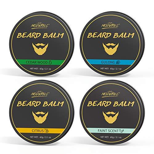 Beard Balm Set 4 Different Scent Natural beard Grooming Kit Softener Conditioner Beard Butter For Men Cedar Wood Faint Scent Cologne Citrus Moisturizer Beard Cream Beard Care Kit Gift For Men
