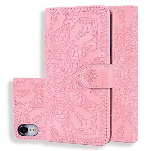 XIXI telefoon kalf patroon dubbel vouwen ontwerp reliëf lederen hoesje met portemonnee & houder & kaartsleuven voor iPhone XR (zwart) volledige bescherming van het lichaam, roze