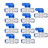 Reunion 10 PCS Agua conecte la válvula de Bola de 1/4 Pulgadas Shut Off de conexión rápida for el Agua de ósmosis inversa Sistema de ósmosis Acuario (Color : White)