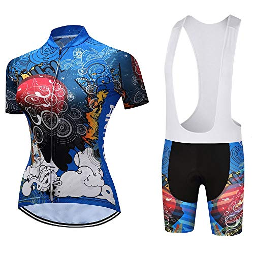 Cycling Jersey Set Women, Summer MTB Bike Clothing Breathable Cycling Suits with 19D Padded Tight Shorts (Color : B, Size : XXL)