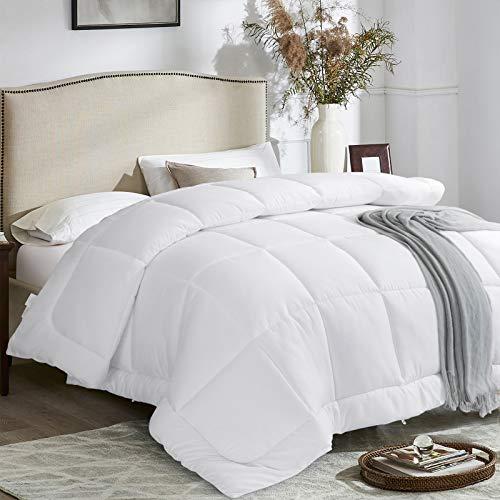 ALTTD Duvet Comforter Inserts, Hypoallergenic Down Alternative Comforter, All Season Lightweight Fluffy Soft Comforter, White, Queen Size(88''x88'')