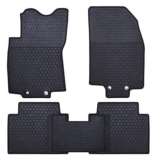 Ucaskin Car Floor Mats Custom Fit for Nissan Rogue 2014 2015 2016 2017 2018 2019 2020 (No Rogue Sport or Select Models) Odorless Washable Rubber All Weather Car Floor Liner-Black