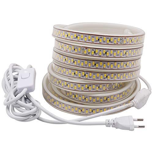 XUNATA LED Ruban,AC 220V 230V 240V SMD 5630 180leds / m Super Bright avec Interrupteur de 3 m Prise EU pour éclairage de Cuisine,Stairway Bar ou Noël,blanc,1M