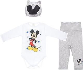 Kleines Kleid Disney Baby Mickey Mouse Jungen 3teiler Set mit Ohren-Mütze, unterschiedliche Modelle, in Größe 56 62 68 74 80 86, Baumwolle, Body, Hose und Mütze Geschenk