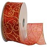 Morex Ribbon Swirl Ribbon, 2.5 Inch by 50 Yards, Red/Gold