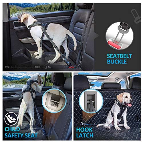 Iokheira Hunde Sicherheitsgurt, 3-in-1 Hundegurt Sicherheitsgeschirr Einstellbarer mit Universalstecker & Befestigung der Verriegelungsstange,Hunde sicherheitsgurt für alle Hunderassen & Auto