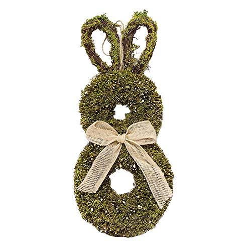 Bonarty 1pc Spring Easter Bunny Wreath Garland Hanger Window Holiday Decor Ornament