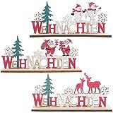 SHINEOFI Letra de Navidad Signo de Madera Decoración de Mesa de Bloque de Navidad Figura en Forma de Árbol de Navidad para Fiestas de Navidad de Alce Adorno de Oficina en Casa 3 Piezas