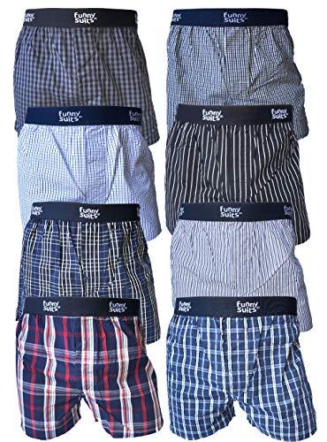 Funny Suits Herren Boxershorts 8er Pack Baumwolle Webboxer Karo Streifen Farbmix Extra Weit (M, Mehrfarbig)