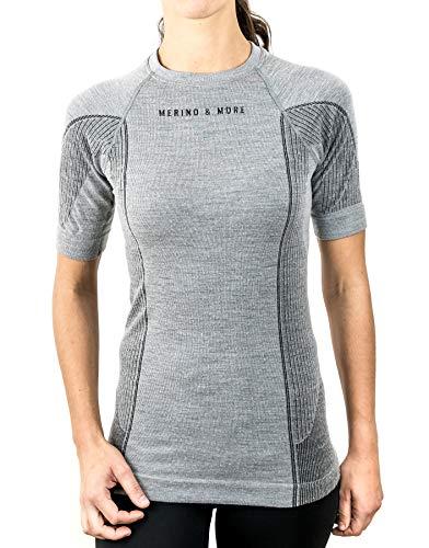 Merino & More Merino Shirt Damen - Premium Funktionsunterwäsche aus hochwertiger Merinowolle - Sport - Funktionsshirt - Kurzarm hellgrau Gr. S
