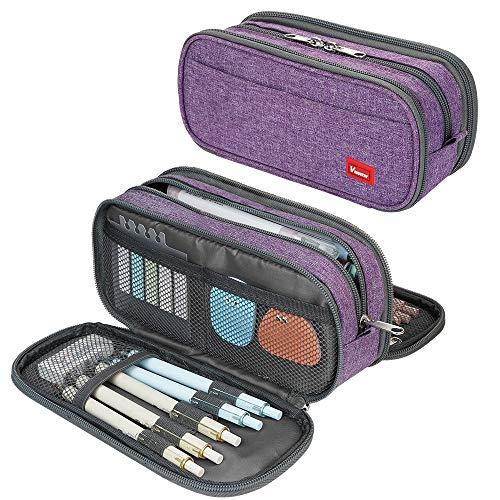 Large Pencil Case Big Capacity Pencil Bag Large Storage Pouch 3 Compartments Desk Organizer Marker Pen Case Simple Stationery Bag Pencil Holder (Purple)