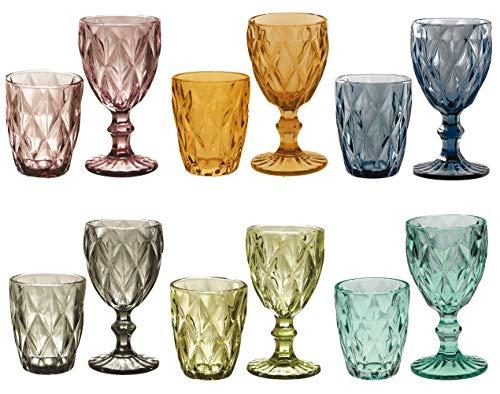 kedea Bicchieri Acqua Colorati in Vetro, Calici Vino Colorati in Vetro, Lavabili in lavastoviglie, Tumbler Acqua Colorati e Calici Vino Colorati, Grand Pave' Mix 6 COLORAZIONI.