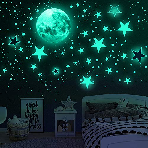 Glow in The Dark Stars for Ceiling, Airsnigi 1120PCS Adhesive Wall Stickers,Including Glow Stars and...