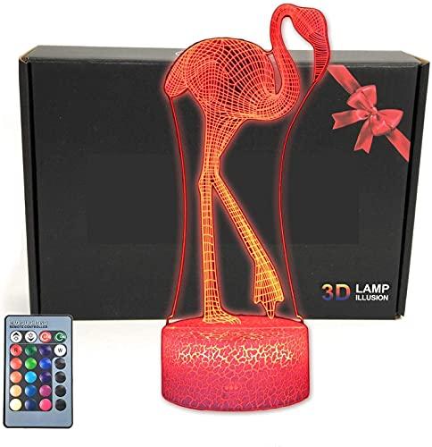 Lámpara de mesa con luz nocturna de ilusión 3D con base iluminada, cambio de 16 colores, botón táctil inteligente y control remoto para hombres, regalos para adolescentes (Flamingo)