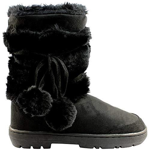 Botas de invierno impermeables, con pompones, para mujer, color Negro, talla 40