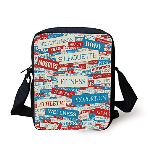 Fitness,Collage of Words Physical Activity Healthiness Nutrition Bodycare Theme Decorative,Sky Blue White Red Print Kids Crossbody Messenger Bag Purse