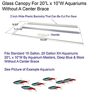 Aquarium Glass Canopies For Aquariums With & Without Center Braces, 10 to 360 Gallon Aquariums. Carefully Select Size and Match Exact Canopy Measurements. Aquarium Glass Lid, Aquarium Glass Top