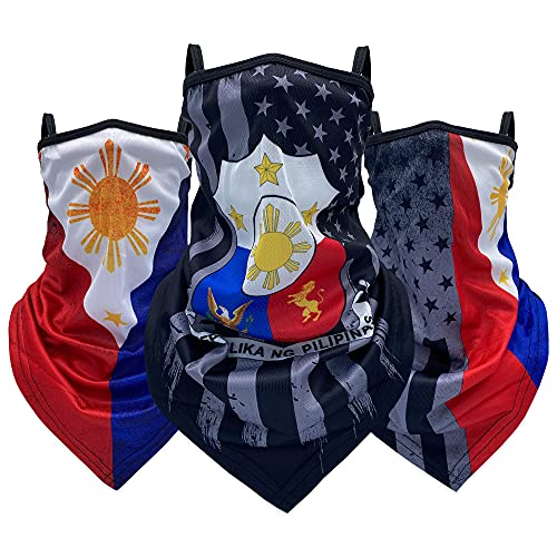 3 Pieces Philippines Flag Face Cover Scarf Bandana...