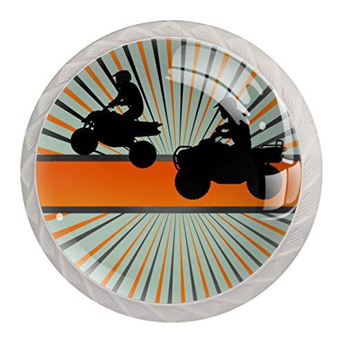 Tiradores de cristal para cajones Rally de motos Pomo redondo para cajón, pomo Blanco para armario de cocina armario de baño, Mueble pomo para puerta (juego de 4) 3.5x2.8cm