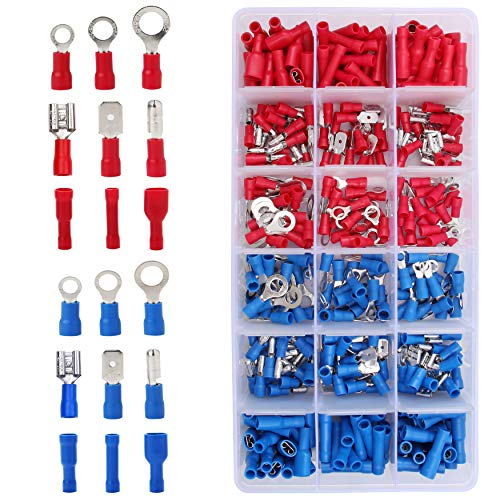 Flytuo 360pcs Waterproof Wire Connectors - Mixed Assorted Lug Kit, Crimp Ring Terminals, Spade Connector Set, Insulated Electrical Crimp Connectors