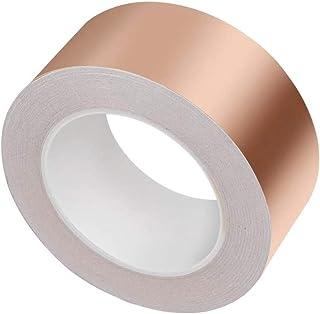 Gobesty Cinta de cobre adhesiva circuitos de papel manualidades DIY Cinta de l/ámina de cobre adhesiva conductiva premium de 50 mm x 25 m para blindaje EMI reparaciones el/éctricas