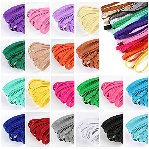 60 Pcs Color Elastic Bands for Sewing 1/4 Inch 20 Colored Elastic Cord For Sewing Flat Elastic Rope Braided Elastic Headbands Colored Elastic for DIY Mask Sewing Craft
