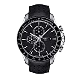Tissot Men's V8 316L Stainless Steel case Swiss Automatic Chronograph Watch with Leather Strap, Black, 22 (Model: T1064271605100)