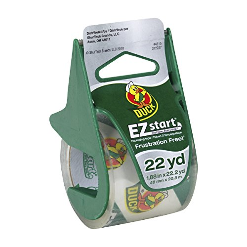 Duck Brand 393185 1.88 Inch by 22.2 Yard EZ Start Carton Sealing Tape with Dispenser, Clear