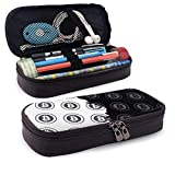 Bitcoin Symbol PU Leather Pencil Case School Office Use Zipper Stationery Organizer