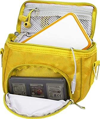 Orzly Travel Bag for Nintendo DS Consoles (New 2DS XL / 3DS / 3DS XL/New 3DS / New 3DS XL/Original DS/DS Lite/DSi/etc.) - Includes Belt Loop, Carry Handle, Shoulder Strap - YELLOW