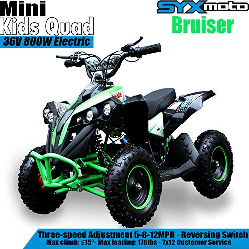SYX MOTO Bruiser Kids Mini ATV 36V 800W Dirt Quad Electric Four-Wheeled Off-Road Vehicle, 5-7.5-12.5mph, with Reversing Switch, Green