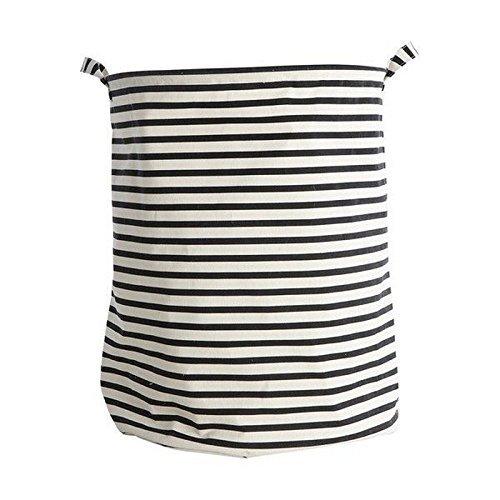 House Doctor - Wäschekorb - Wäschesack - Stripes - schwarz/weiß Höhe 50 cm Ø 40 cm