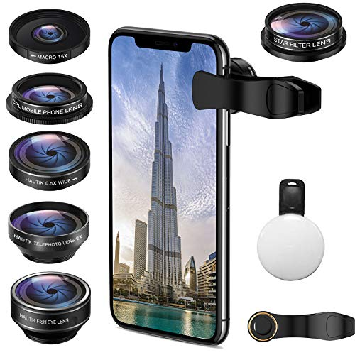 Phone Camera Lens Kit,ARORY 5 in 1 iPhone Lens with Fisheye Lens+Macro Lens+ Wide Angle Lens+ Telephoto Lens and CPL Lens for iPhone, Samsung, Pixel (with Remote Control)