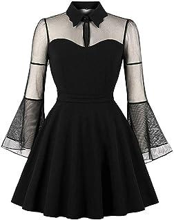 Killreal Women's Elegant See-through Long Sleeve Flare A Line Cocktail Dress