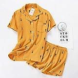 Pajamas Nightwear Cotton Women Pajamas Set Summer Comfort Turn-Down Collar Sleepwear Set Female Lovely Cartoon Printed Homewear Shorts L Yellow