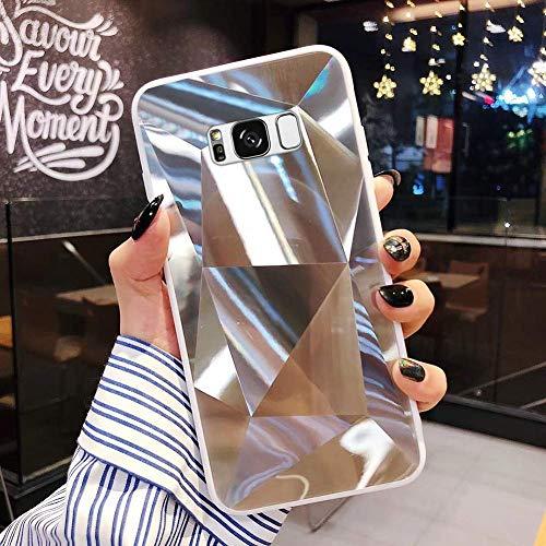 Uposao Kompatibel mit Samsung Galaxy S8 Plus Hülle Spiegel Schutzhülle Bling Glänzend Glitzer Kristall Strass TPU Silikon Handyhülle Weiche Silikon Rückseite Glitzer Hülle Case Tasche,Silber