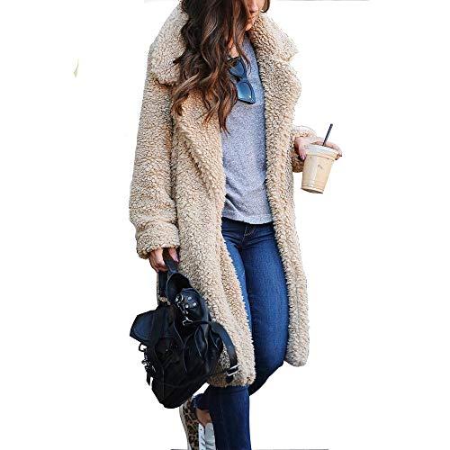FEIFUSHIDIAN Frauen-Wäsche Tailcoat Elegante Plüsch Revers Langarm-T-Shirt Weiblichen Langen Mantel Schal (Color : Light Apricot, Size : M)