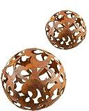 Bornhöft Herz Kugel Set 30cm + 40cm Metall Rost Gartendeko Edelrost rostige Gartendekoration Gartenkugel Rosenkugel