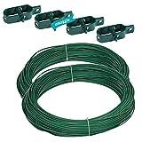Kit 2X Filo Metallico Plastificato Verde per Recinzione, Rete, Stendibiancheria, Pali 2x20 Metri, Diametro 2,4mm con 4 Tendifilo in Metallo Plastificato Verde Omaggio, Fai da Te Giardinaggio