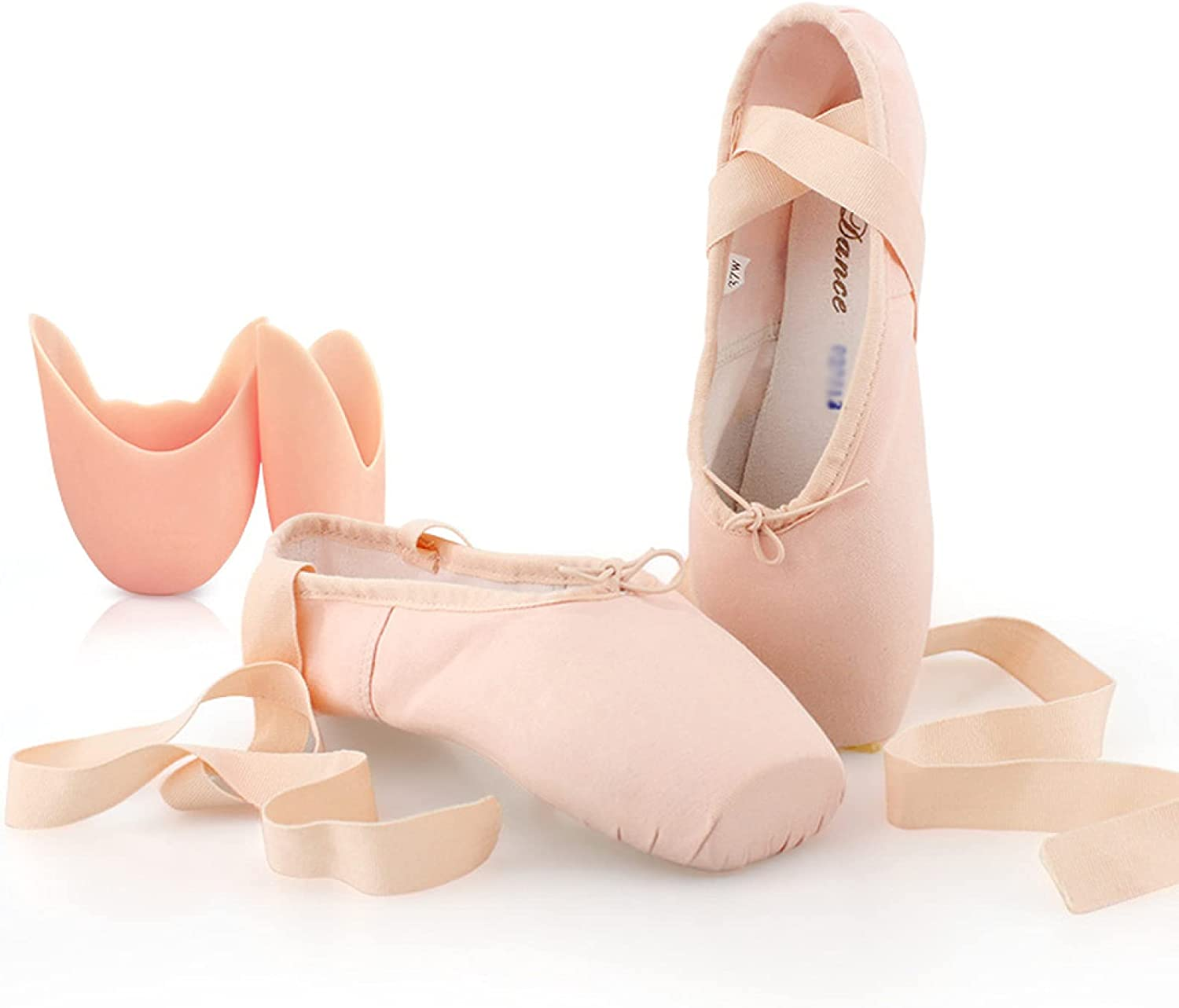 AGYE Ballet Shoes,Professional Ballet Pointe Shoes Dance Shoes Ballet Flats Full Sole Dance Slippers for Girls Women,PinkB+ToeCaps-41
